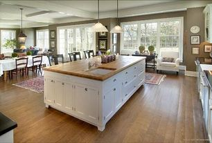 Traditional Kitchen with Standard height, Kitchen island, Paint, Pendant light, Breakfast bar, Farmhouse sink, Inset cabinets