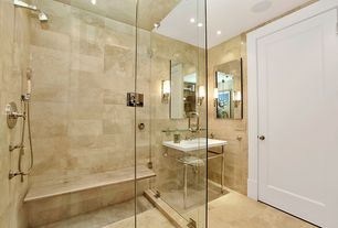 Contemporary Full Bathroom with 30 in. x 24 in. Beveled Wall Mirror, Custom Frameless Shower, Paint 1