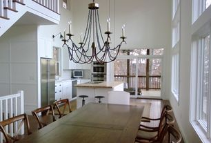 Contemporary Kitchen with L-shaped, Kitchen island, Chandelier