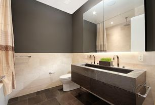 Contemporary Full Bathroom with Ms international gray soapstone, MS International Galala Limestone