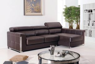 Contemporary Living Room with J&M Furniture Modern Coffee Table, Divani Casa Rodeo - Modern Leather sectional Sofa