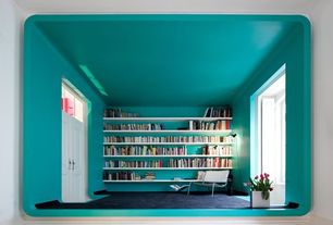 Modern Home Office with Curved walls, Wall to wall bookshelves, Architect: pedro gadanho, Low pile carpet