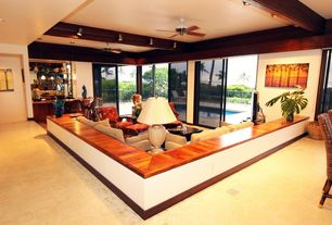 Modern Living Room with Ceiling fan, Exposed beam, Carpet, can lights, Harborside slipcovered apartment sofa, Paint