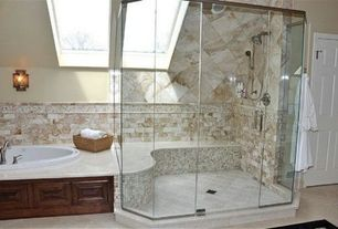 Traditional Master Bathroom with MS International Calacatta Lasa Marble Countertop, MS International Brown Ceramic Tile