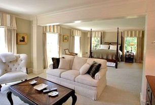 Traditional Master Bedroom with Crown molding, double-hung window, Carpet, Standard height