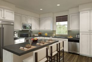 Contemporary Kitchen with Standard height, full backsplash, Kitchen island, Specialty Tile, Flush, Concrete counters