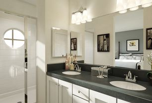 Contemporary Master Bathroom with Soapstone, Double sink, Undermount sink, Master bathroom, Soapstone counters, Flush