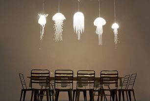 "Contemporary Dining Room with Elisa 86"" dining table, Metal dining chairs, Paint, Hydra pendant lamp, Ophelia pendant lamp"