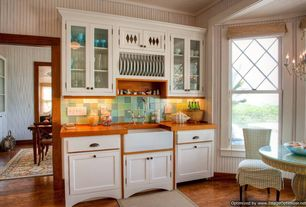 Cottage Kitchen with Glass panel, Flat panel cabinets, One-wall, Breakfast nook, Chandelier, Wood counters, Glass Tile