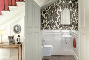 Traditional Powder Room with specialty door, flush light, Herringbone pattern hardwood floors, Powder room, Paint 1, Loft