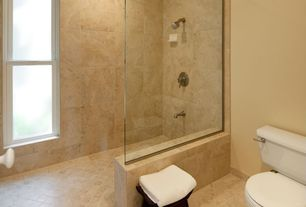 Contemporary Master Bathroom with frameless showerdoor, Ark Showers Frameless Shower Screen, Large Ceramic Tile