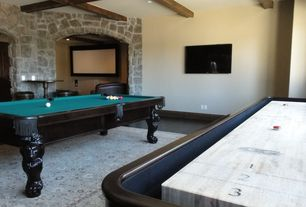 Contemporary Game Room with Laminate floors, Exposed beam