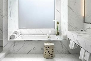 "Contemporary Master Bathroom with Duravit 700231000000090 Onto 66-7/8"" x 13-3/4"" Rectangle Bulit-in Bathtub"