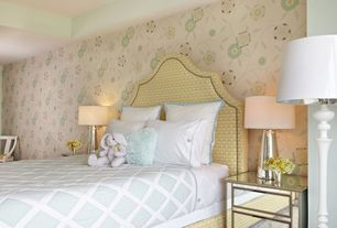 Traditional Guest Bedroom with Carpet, Standard height, interior wallpaper