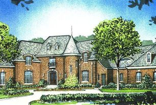 Traditional Exterior of Home with Rendering