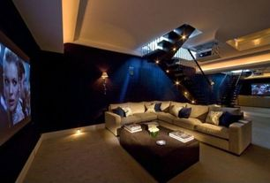 Contemporary Home Theater with Carpet, Floating staircase, L shaped sofa, Wall sconce