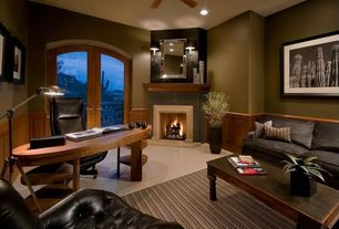 Modern Home Office with Fireplace, Paint 1, brick fireplace, Paint 2, Dimond wesley tripod pharmacy floor lamp, Wall sconce