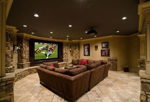 Rustic Home Theater with U-shaped sectional sofa, stone tile floors, Paint 1, Standard height, can lights, Wall sconce