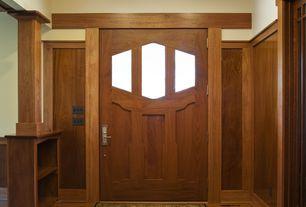 Craftsman Entryway with Glass panel door, Hardwood floors, Columns