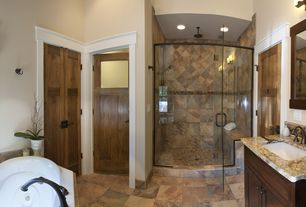 Craftsman Master Bathroom with Home decorators collection espresso flat-weave roman shade, Flush, Raised panel, Slate Tile
