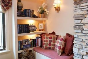 Country Living Room with Undermount lighting, Paint, Wall sconce with shade, Custom built-in shelving, Paint 2