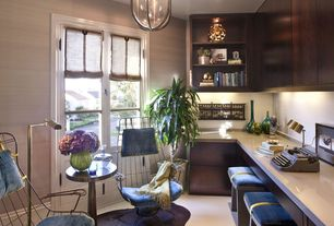 Contemporary Home Office with Standard height, Pendant light, Built-in bookshelf, French doors, Carpet, can lights
