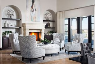 Contemporary Living Room with Cement fireplace, travertine floors, High ceiling, Old World Stoneworks Fireplace Mantel