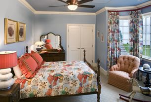Traditional Guest Bedroom with six panel door, Crown molding, flush light, Carpet, Standard height, picture window