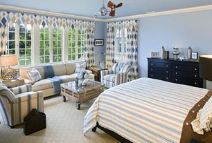 Traditional Guest Bedroom with Standard height, Crown molding, Casement, Ceiling fan, Carpet, flush light