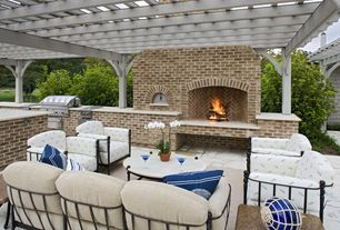 Modern Patio with Trellis, Outdoor kitchen, exterior stone floors