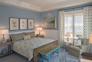 Contemporary Master Bedroom with Wainscotting, can lights, Carpet, flush light, Standard height, Chair rail, Crown molding