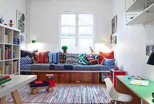 Contemporary Playroom with Ikea kallax shelving unit, Eames molded plastic dowel-leg side chair