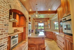 Craftsman Kitchen with Breakfast bar, Flush, Kitchen island, Exposed beam, Pental - Baricatto Satin Granite Slab