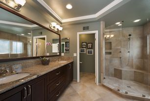 Contemporary Master Bathroom with Catalina canyon noce, porcelain floor and wall tile, Handheld showerhead, Double sink