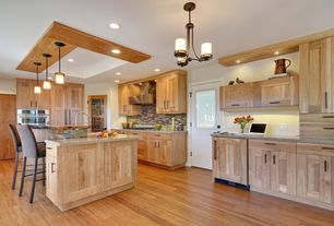 Craftsman Kitchen with Simple granite counters, Glass Tile, Wood counters, Flush, Pendant light, Undermount sink