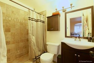 Traditional 3/4 Bathroom with Console sink, terracotta tile floors, Stufurhome GM-6120-23 White Top Single Vanity, Flush
