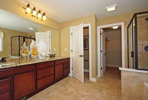 Traditional Master Bathroom with Bathtub, specialty door, drop in bathtub, flush light, Complex granite counters, Wall Tiles