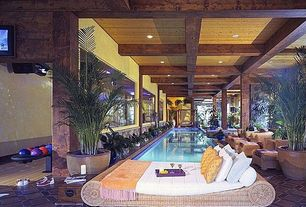 Contemporary Swimming Pool with terracotta tile floors, Wicker lounge bed, Exposed wood beams, Exposed wood ceiling