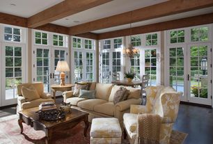 Traditional Living Room with Overstock cristal de lisbon 6-light brass chandelier, French doors, Exposed beam, Transom window