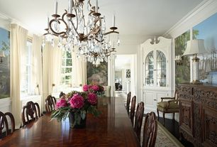 Traditional Dining Room with Built-in bookshelf, Mural