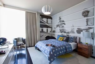 Contemporary Kids Bedroom with Pendant light, Leonardo leather armchair, Laminate floors, Standard height, picture window