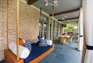 Contemporary Porch with Exposed beam, Ceiling fan, Beton concrete glazed porcelain floor and wall tile, Outdoor curtain