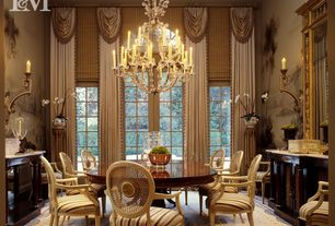 Traditional Dining Room with Chandelier, Built-in bookshelf, interior wallpaper, French doors, picture window, Wall sconce