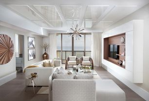 Contemporary Living Room with Starburst Chandelier, Built-in bookshelf, Carpet, White Leather Sofa, Wall Unit