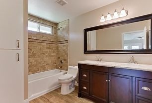 Traditional Full Bathroom with Sea Gull Lighting 44942-05 Windgate 4-Light Bathroom Vanity Light, Calacatta vagli