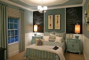 Cottage Guest Bedroom with double-hung window, Chalkboard paint, Paint 1, Paint 2, Painted wood panel wall, Carpet