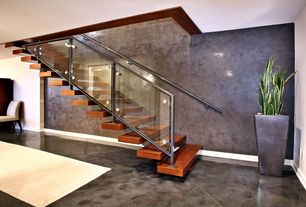 Contemporary Staircase with Metal staircase, Concrete floors