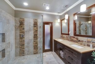 Contemporary Master Bathroom with Daltile Stacked Stone Shanghai Rust, Emser baja tecate, Emser pikes peak - montreal