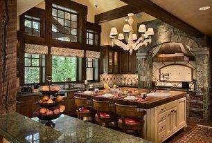 Traditional Kitchen with Exposed beam, Granite countertop, Natural wood countertop, Natural wood window frame