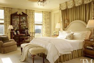 Traditional Master Bedroom with Chandelier, Studded bedroom bench, Ceiling molding, Crown molding, Carpet